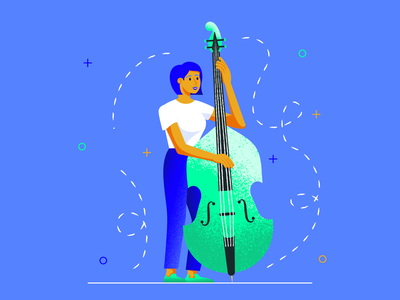 The Bassist double bass bassist app application music app music girl flat character texture design vector illustration