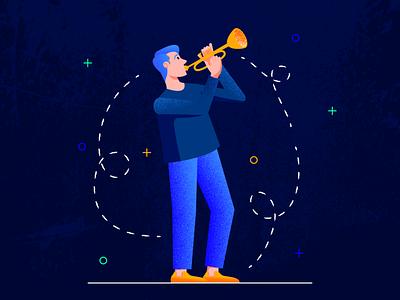 The Trumpeter music application application music app trumpeter trumpet man flat web character texture design vector illustration