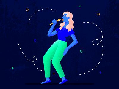 The Singer vocalist music application hero image music app singer girl flat web character texture design vector illustration
