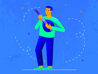 The Mandolinist music application mandolinist mandolin musician music music app flat web character texture design vector illustration