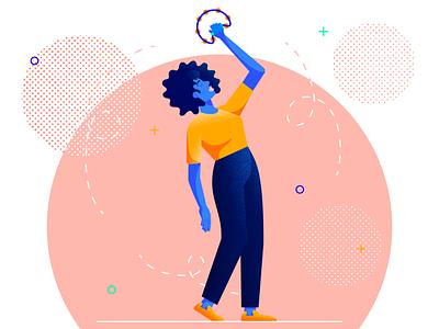 The Tambourinist tambourinist tambourne music application music app musician girl flat web character texture design vector illustration