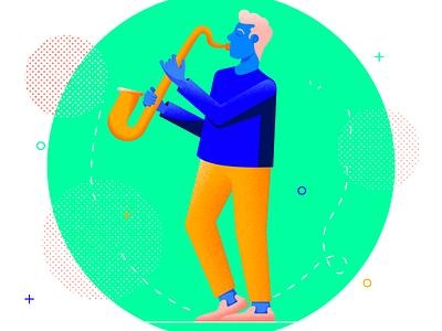 The Saxophonist guy music application music app musician saxophonist saxophone man web character texture design vector illustration