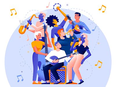 The Music Band character design music application music app singer trumpet double bass banjo mandolin saxophone musician guy girl flat character texture design vector illustration