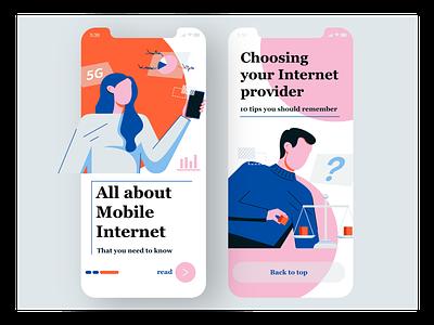 Blog application: UI and Illustration design ui ux character design mobile application app branding ui flat web character texture design vector illustration