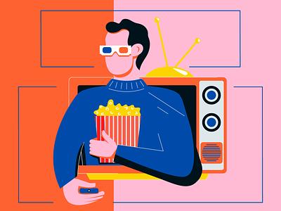 Interactive TV guy interactive tv tv tech blog flat web character texture design vector illustration