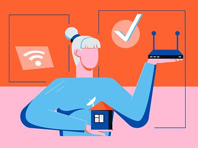 Broadband at Home tech blog blog illustration internet satellite broadband wifi flat web character texture design vector illustration