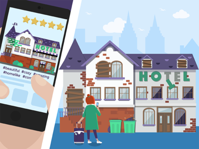 Travel App Expectations/Reality Illustration app skyline mockup hotel building house flat traveling design graphic illustration