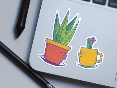 Lovely Plants Sticker Design sansevieria cacti pot cup custom stickers illustration dots design texture plant sticker