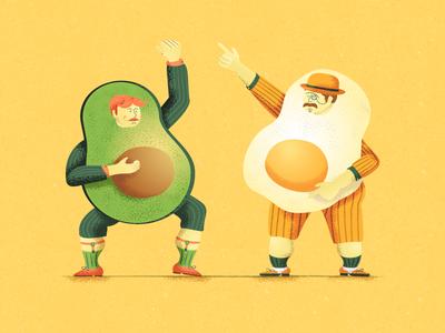 Breakfast Band vector design dancing egg avocado breakfast character texture dots illustration