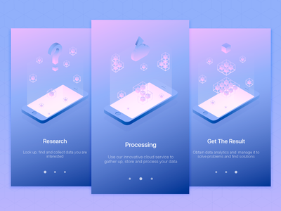 Onboarding Data App Illustrations ui onboarding isometric gradient cube mobile app design light vector illustration clean