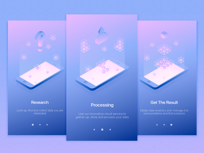 Onboarding Data App Illustrations ui onboarding isometric gradient cube mobile app design light vector illustration clean
