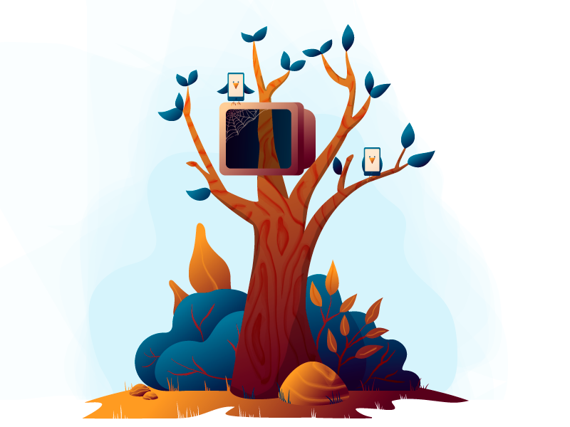 Hidden Glade mobile leaves rock forest wood nature gradient vector illustration watercolor texture tree
