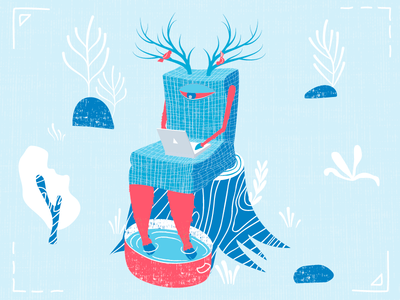 Deer The Armchair horns houseware notebook monster character design vector acid texture illustration armchair deer