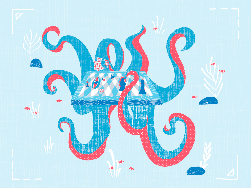 Octopus The Chess Table houseware fish monster game character design vector acid texture illustration chess octopus