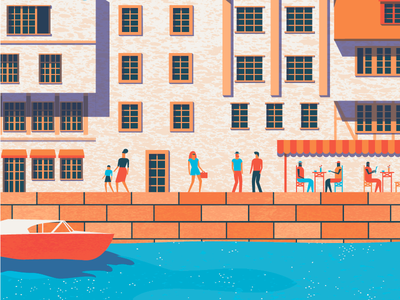 Old Town Poster Illustration flat boat water poster illustrator illustration people house town texture design vector