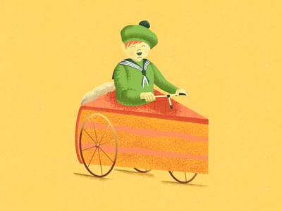 Dessert Kid sweet tooth dots bicycle food texture design character vector illustration bike kid cake
