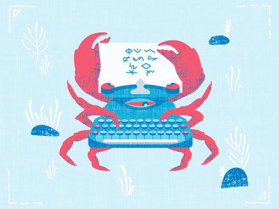 Crab The Typewriter poem acid sea character design illustration houseware monster typewriter texture vector crab