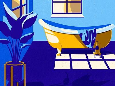 Sunny Morning window design poster towel bath plant morning light illustration vector texture bathroom