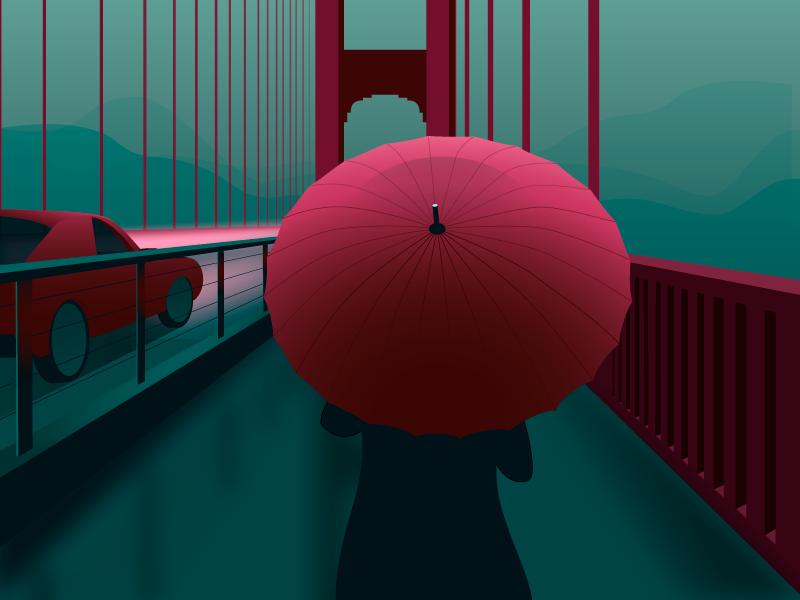 Crossing the Bridge poster design walking golden gate san francisco car gradient vector illustration rain bridge umbrella