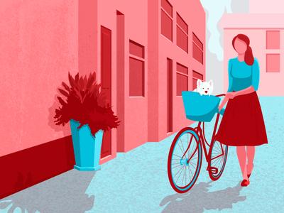 Girl With Her Bike character light building plant street dog illustration vector texture flat bicycle girl