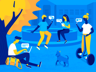 Break Between The Classes campus college texture hero image design people character dog chat illustration vector web