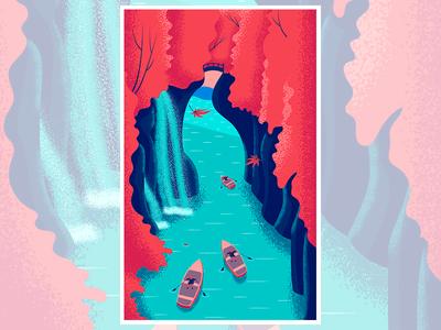 Autumn in Japan river autumn trees bridge illustration poster texture vector japan leaf boat waterfall