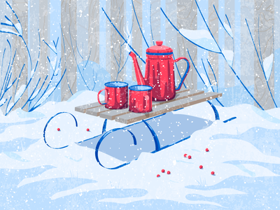 Winter Morning design cup berries morning winter snow sleds teapot tree texture vector illustration
