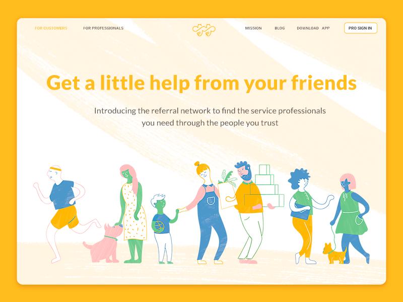 Illustration for the household network app website hero landing page network app household dog family texture character design illustration web