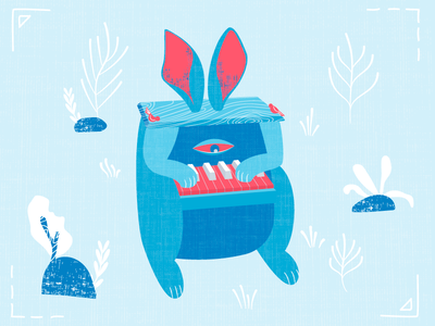 Bunny The Piano birds piano bunny vector texture monster illustration houseware design character acid