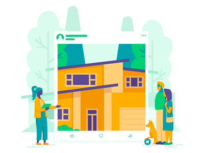 Showcasing The New House trees flat hero image vector facebook dog family realtor advertisement house illustration real estate