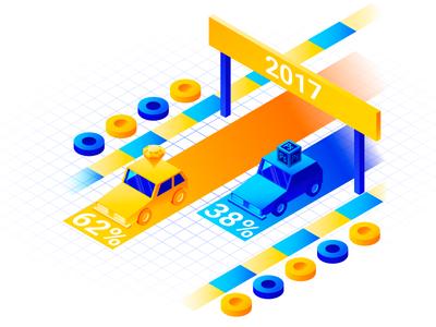 Illustration for Avocode UI Design Report 2017 graph statistics design gradient racing car isometric vector illustration avocode photoshop sketch