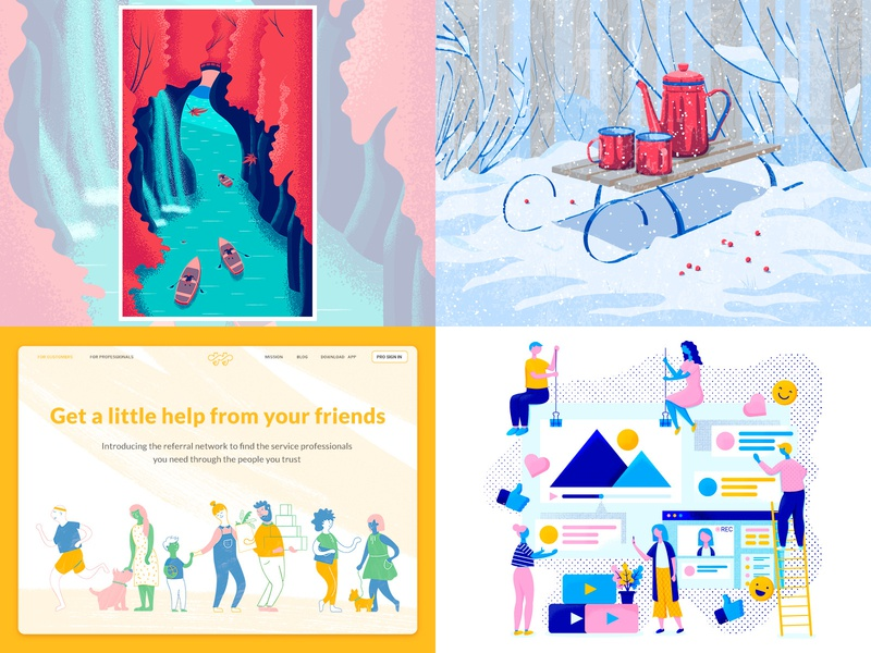 My top shots of 2018 japan winter dog girl ui flat web character texture design vector illustration