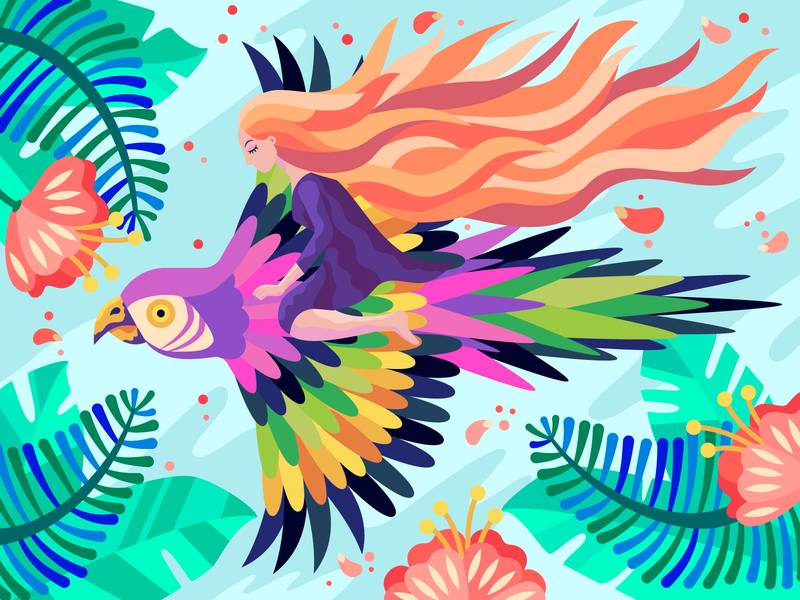Thumbelina of the Jungle jungle coloring book flower bird parrot plant girl flat character design vector illustration