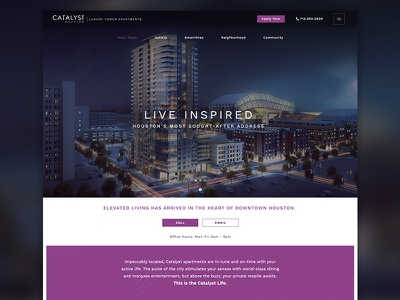 Catalyst Houston web design hotel purple typogaphy modern interface website ux ui layout plainjoe web design homepage