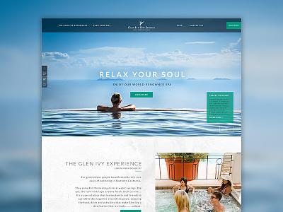 Glen Ivy website interface typogaphy modern ux redesign homepage design spa plainjoe layout ui web