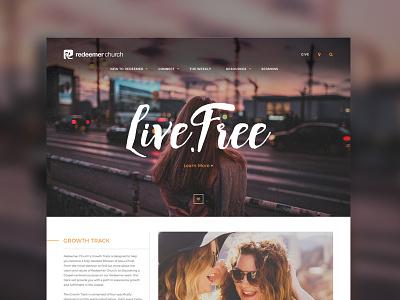 Redeemer Church website modern typogaphy ux church redeemer orange plainjoe ui layout design web homepage redesign