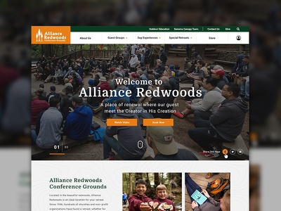 Alliance Redwoods Homepage Redesign photoshop color graphic design typogaphy layout redesign website digital education church ux-ui uidesign plainjoe simple modern clean camping redwoods homepage web