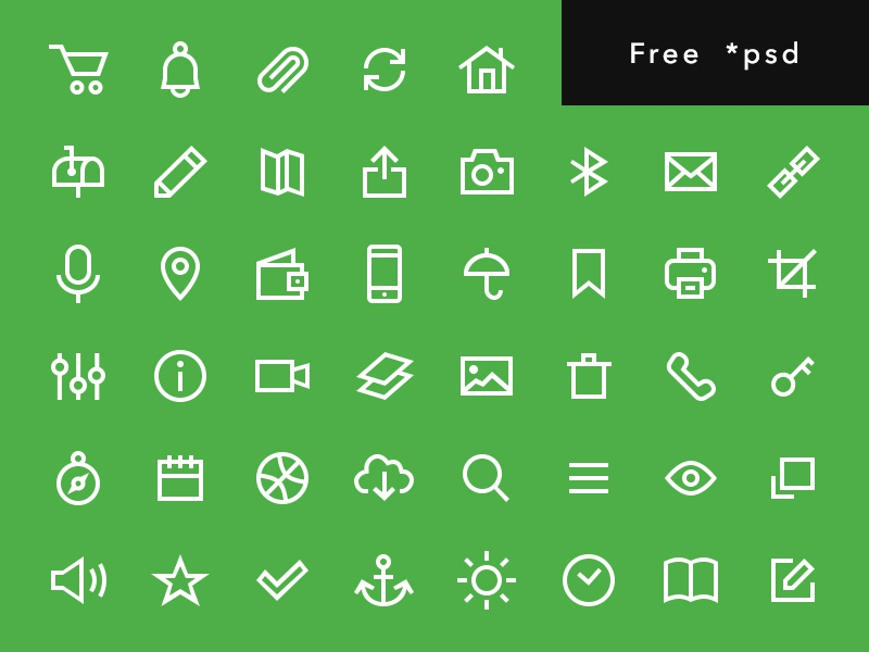 Uniicons free glyph kit ui psd 64 download free pack set outline icons freebie