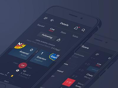 Kick Score interface ux ui scores soccer live design flat ios app mobile