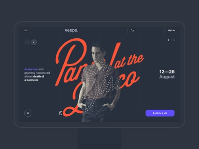 veeps panic at the disco typography booking clean flat website promo band singer design dark ui ux