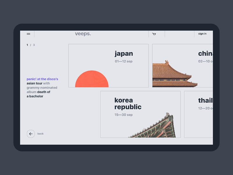 veeps. inner..  .:  . webdesign web userinterface website promo profile e-commerce design ui ux bright uidesign clean