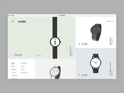CLAÃRC shop metro typography interface watches store e-commerce eshop web design website ux ui