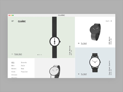 CLAÃRC shop metro typography interface watches store e-commerce eshop web design website ux ui