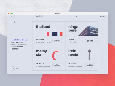 veeps. inner. ticket uidesign booking ux ui design e-commerce thailand malaysia website user interface web design
