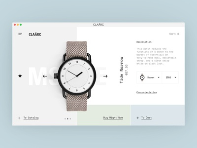 CLAÃRC Product Page ui ux website web design eshop e-commerce store watches interface typography product shop