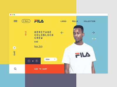 Fila product page concept redesign ux ui shop interface online store website web design colors fila e-commerce eshop product