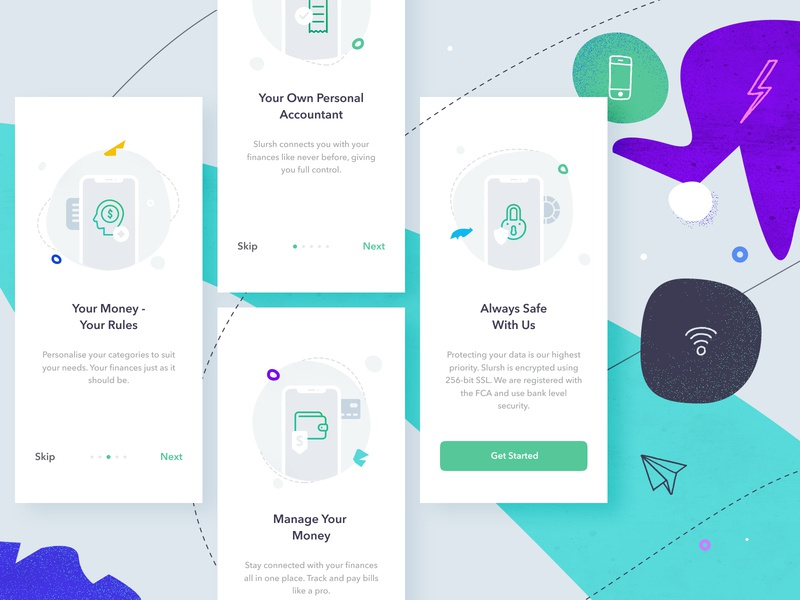 Slursh App flow onboarding illustation visual design ui ux material ios design mobile app tutorials walkthrough