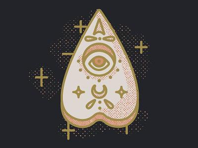 Sneak Peek retro vintage illustration illustrator mystic oracle board ouija halftones distressed