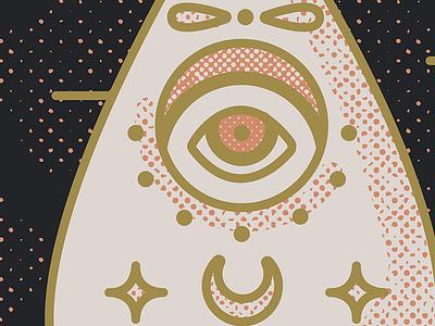 Close up retro vintage illustration illustrator mystic oracle board ouija halftones distressed