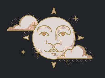 Oujia Board Sun retro vintage illustration illustrator mystic oracle board ouija halftones distressed